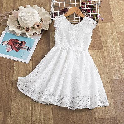 cheap Kids-Kids Little Dress Girls' Solid Color Lace Trims Print White Knee-length Sleeveless Active Dresses Summer Regular Fit 5-12 Years