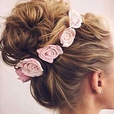 cheap Kids' Accessories-Toddler Girls' Basic / Sweet Floral Bow Rayon Hair Accessories Blue / Blushing Pink / Dusty Rose One-Size / Hair Tie / Headbands