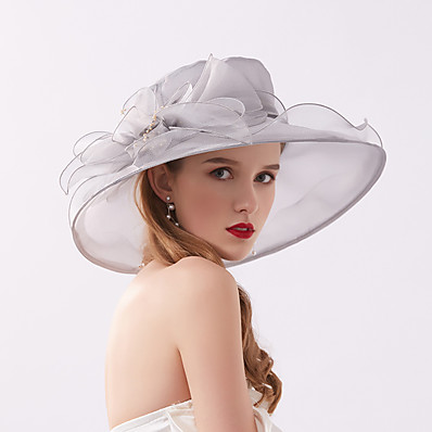 cheap Accessories-Women's Party Hat Flower Party Wedding Special Occasion Beige Black Solid Color Hat / White / Gray / Fall / Spring / Summer