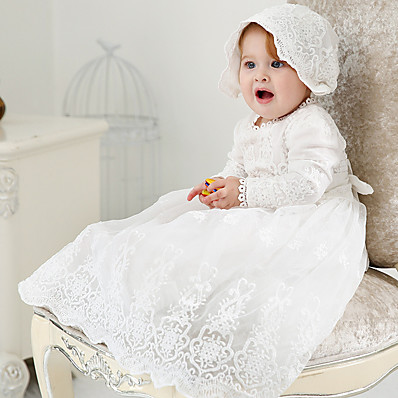 cheap Kids-Baby Girls' Basic Streetwear Christening Solid Color Lace Trims Long Sleeve Dress Maxi White / Fall