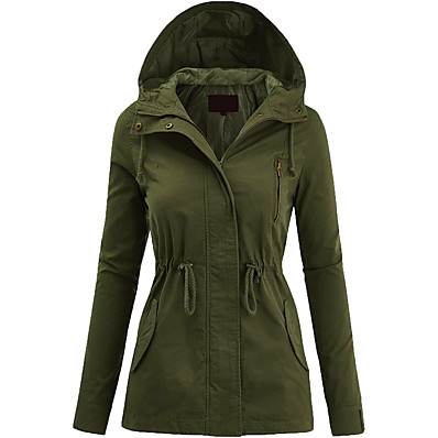 cheap Camping, Hiking & Backpacking-Women's Hoodie Jacket Hiking Jacket Hiking Windbreaker Outdoor Thermal Warm Windproof Warm Breathable Solid Color Full Length Visible Zipper Winter Jacket Top Camping / Hiking Fishing Climbing Yellow