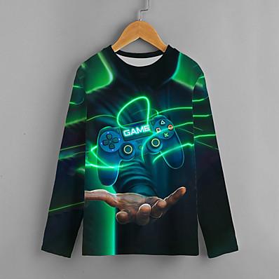cheap Kids-Kids Boys' T shirt Long Sleeve Geometric Letter 3D Print Black Children Tops Active Fall Regular Fit 4-12 Years