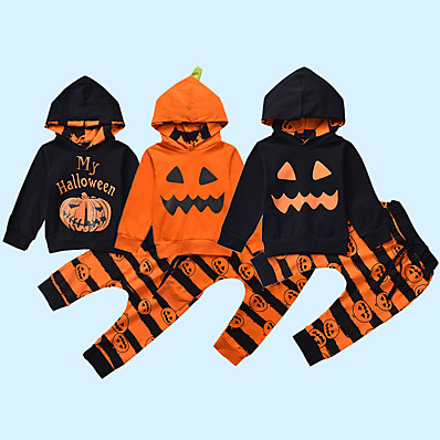 cheap Baby & Toddler Boy-2 Pieces Baby Boys' Casual Daily Cool Cotton Halloween Print Letter Print Regular Long Sleeve Hoodie & Pants Clothing Set Yellow Orange Black / Fall / Winter