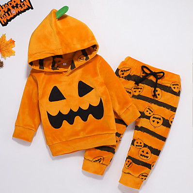 cheap Baby & Toddler Boy-2 Pieces Baby Boys' Active Casual Daily Cotton Halloween Striped Print Regular Long Sleeve Hoodie & Pants Clothing Set Yellow / Fall / Winter