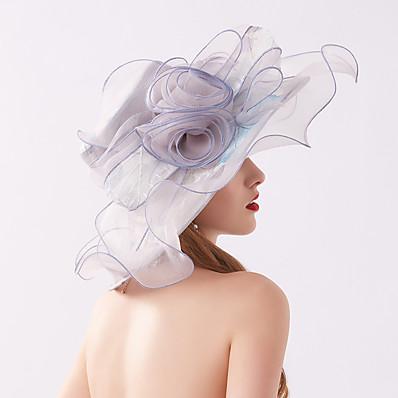 cheap Accessories-Women's Party Hat Flower Mesh Party Wedding Street Light Blue Pink Flower Hat / Khaki / Fall / Summer