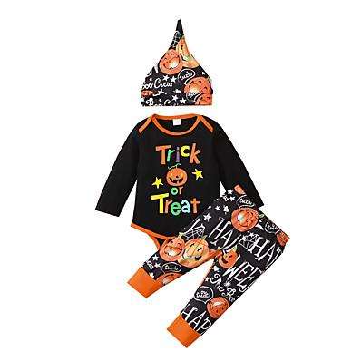 cheap Baby & Toddler Boy-3 Pieces Baby Boys' Casual Daily Cool Cotton Halloween Print Letter Pumpkin Print Regular Long Sleeve Clothing Set Black / Fall / Winter