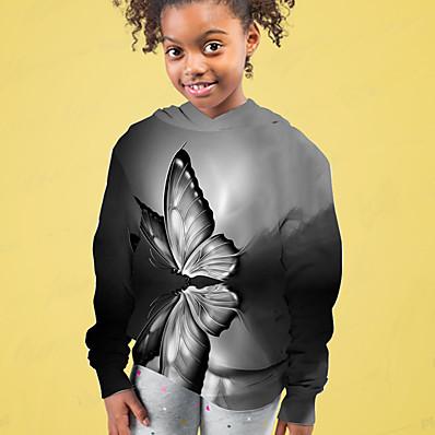 cheap Kids-Kids Girls' Hoodie Long Sleeve Butterfly 3D Print Gray Children Tops Active Fall Regular Fit 4-12 Years