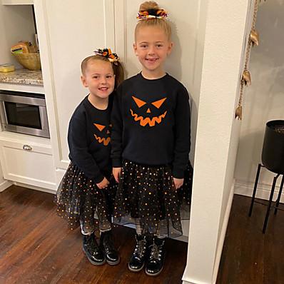 cheap Baby & Toddler Boy-Toddler Unisex Sweatshirt Long Sleeve Halloween pattern Hot Stamping Black Cotton Children Tops Active Basic Fall Spring Halloween Outdoor Slim 1-5 Years