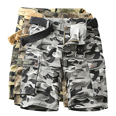 cheap Hunting & Nature-Men's Hiking Cargo Shorts Tactical Shorts Camo Shorts Summer Multi-Pockets Quick Dry Breathable Wearproof Cotton Camo / Camouflage Bottoms for Camping / Hiking Hunting Fishing Army Green Dark Gray