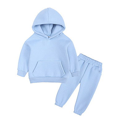 cheap Baby & Toddler Boy-Kids Boys' 2 Pieces Hoodie & Pants Clothing Set Long Sleeve Blue Blushing Pink Gray Solid Color Street Casual / Daily Cotton Regular Street Style Sports / Fall / Winter