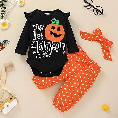 cheap Baby & Toddler Girl-2 Pieces Baby Girls' Cotton Halloween Polka Dot Letter Animal Print Regular Long Sleeve Clothing Set Black / Fall