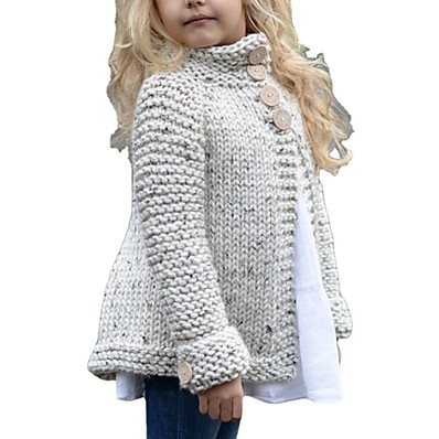 cheap Kids-Kids Girls' Sweater Cardigan Long Sleeve Solid Color Beige Children Tops Daily Cute Fall Winter Indoor Outdoor Regular Fit 2-9 Years