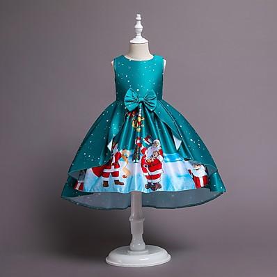 cheap Girls' Clothing-Kids Little Girls' Dress Snowflake Santa Claus A Line Dress Print Blue Wine Green Midi Sleeveless Elegant Princess Dresses Summer Christmas Regular Fit 2-8 Years