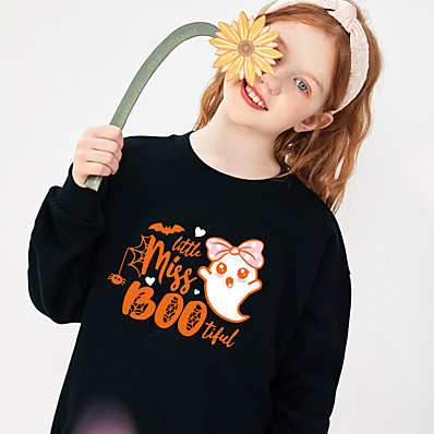 cheap Baby & Toddler Boy-Toddler Girls' Sweatshirt Long Sleeve Heart Ghost Letter Hot Stamping Black Cotton Children Tops Basic Cute Fall Spring Halloween Outdoor Slim 1-5 Years