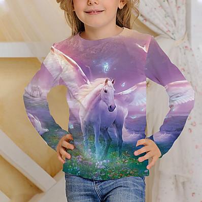 cheap Boys' Clothing-Kids Girls' T shirt Long Sleeve Unicorn Horse 3D Print Blushing Pink Children Tops Active Fall Regular Fit 4-12 Years