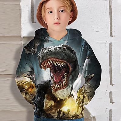 cheap Kids-Kids Boys' Hoodie Long Sleeve Dinosaur 3D Print Black Children Tops Active Fall Regular Fit 4-12 Years