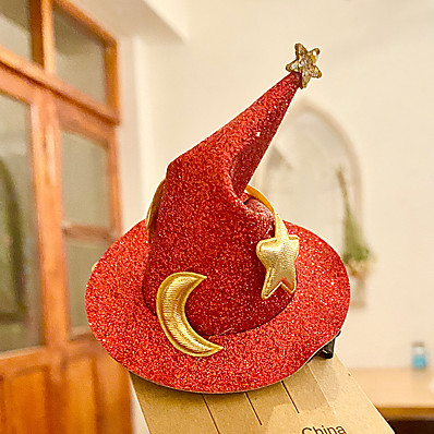 cheap Accessories-Women's Sequins Party Halloween Carnival Gold Red Star Moon Hat / Blue / Fall / Winter / Spring / Summer