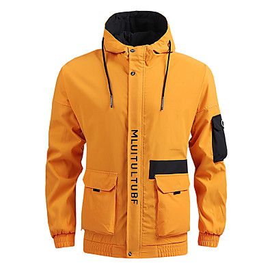 cheap Camping, Hiking & Backpacking-Men's Hoodie Jacket Hiking Jacket Hiking Windbreaker Outdoor Thermal Warm Windproof Quick Dry Lightweight Outerwear Trench Coat Top Skiing Ski / Snowboard Fishing Yellow Grey Black / Breathable