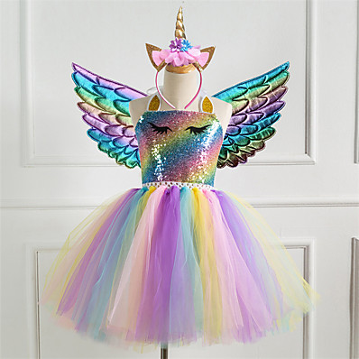 cheap Girls' Clothing-Kids Little Girls' Dress 3pcs Unicorn Princess Rainbow Colorful Party Tutu Birthday Dresses With Wing and Headband Sequins Halter Purple Gold Silver Cute Dresses 2-8 Years