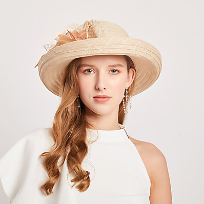 cheap Accessories-Women's Party Hat Flower Lace Party Wedding Special Occasion Beige Black Solid Color Hat / White / Fall / Winter / Spring