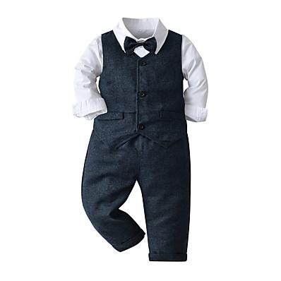 cheap Baby & Toddler Boy-Kids Toddler Boys' Clothing Set Long Sleeve 4 Pieces Blue White Print Birthday Formal Cotton Basic / Fall / Winter / Spring