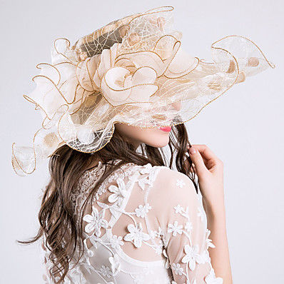 cheap Accessories-Women's Party Hat Mesh Bowknot Wedding Street Dailywear Grey Gold Floral Hat / Beige / Purple / Pink / Fall / Summer