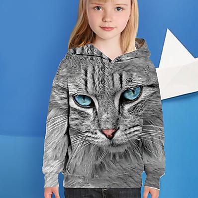 cheap Kids-Kids Girls' Hoodie Long Sleeve Cat 3D Print Gray Children Tops Active Fall Regular Fit 4-12 Years