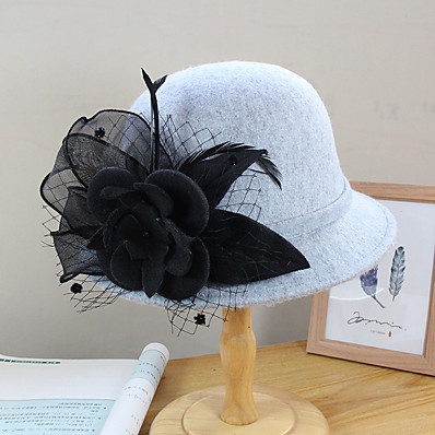 cheap Accessories-Women's Bucket Hat Flower Party Wedding Special Occasion Camel Black Flower Hat / White / Fall / Winter / Spring / Holiday