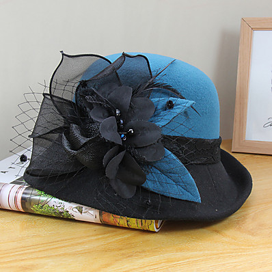 cheap Accessories-Women's Bucket Hat Flower Party Wedding Special Occasion Wine Camel Flower Hat / Blue / Fall / Winter / Spring / Holiday