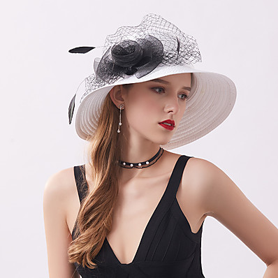 cheap Accessories-Women's Party Hat Flower Party Wedding Special Occasion Black White Solid Color Hat / Fall / Winter / Spring