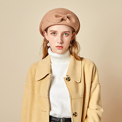 cheap Accessories-Women's Beret Hat Bow Party Wedding Special Occasion Wine Camel Bow Hat / Black / Red / Fall / Winter / Spring