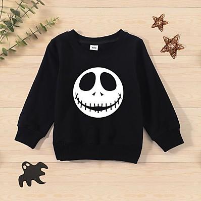 cheap Baby & Toddler Boy-Toddler Unisex Sweatshirt Long Sleeve Cartoon Ghost Hot Stamping Black Red Cotton Children Tops Basic Cute Fall Spring Halloween Outdoor Slim 1-5 Years