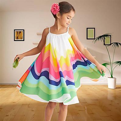 cheap Kids-Kids Toddler Little Girls' Dress Floral Patchwork Sundress Rainbow Knee-length Sleeveless Cute Sweet Dresses Children's Day Regular Fit
