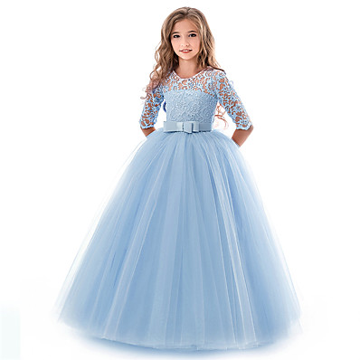 cheap Girls' Clothing-Kids Little Girls' Dress Floral Lace Solid Colored Party Wedding Evening Hollow Out White Blue Purple Lace Tulle Maxi Short Sleeve Flower Vintage Gowns Dresses 3-13 Years