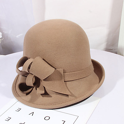 cheap Accessories-Women's Party Hat Flower Party Wedding Street Wine Black Pure Color Hat / Gray / Fall / Winter