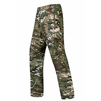 cheap Hunting & Nature-Men's Camouflage Hunting Pants Tactical Pants Softshell Pants Autumn / Fall Winter Spring Thermal Warm Waterproof Windproof Multi-Pockets Fleece Softshell Camo / Camouflage Bottoms for Skiing Camping