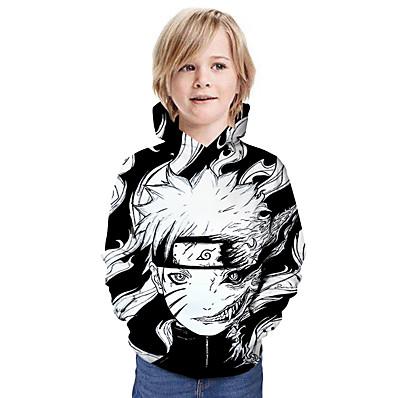 cheap Boys' Clothing-Kids Boys' Naruto Hoodie Long Sleeve Cartoon Anime 3D Print White Children Tops Active Basic Fall Dailywear Casual Regular Fit 4-12 Years
