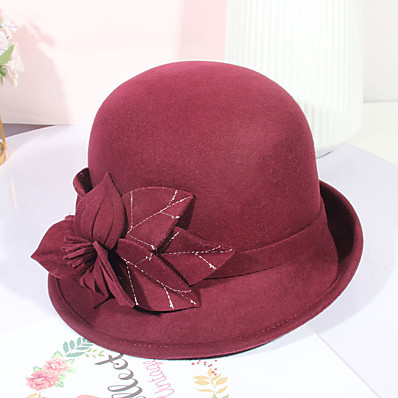 cheap Accessories-Women's Party Hat Flower Party Wedding Street Wine Black Pure Color Hat / Brown / Fall / Winter