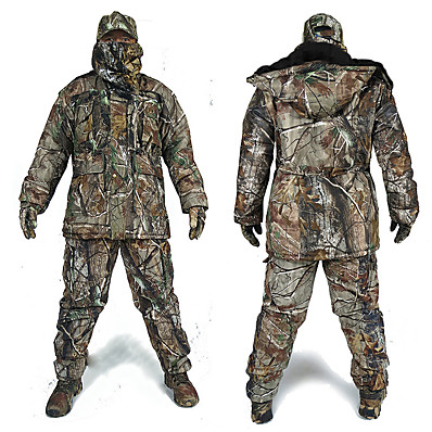 cheap Hunting & Nature-Men's Hooded Hunting Jacket with Pants Hunting Suit Military Tactical Jacket Outdoor Autumn / Fall Winter Thermal Warm Waterproof Windproof Breathable Fashion Long Sleeve Fleece Elastane Cotton