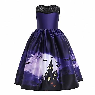 cheap Kids-Kids Little Girls' Dress Graphic Party Print Purple Maxi Sleeveless Princess Costume Dresses Fall Winter Halloween Slim 4-12 Years