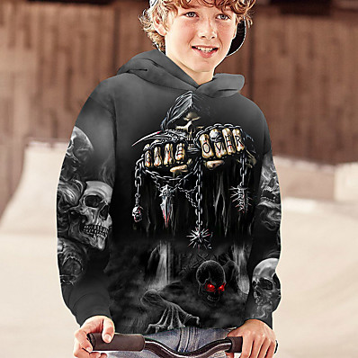 cheap Kids-Kids Boys' Hoodie Long Sleeve Gray White Black 3D Print Pocket Skull Casual Daily Outdoor Cool Skulls Active 4-12 Years