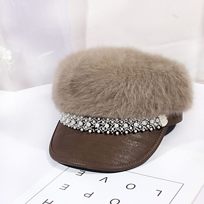 cheap Women's Jewelry-Women's Beret Hat Party Wedding Street Black Gray Pure Color Hat / Khaki / Fall / Winter / Newsboy Cap
