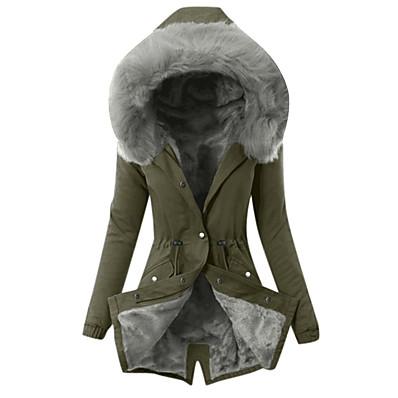 ราคาถูก ของขวัญวาเลนไทน์-สำหรับผู้หญิง สวน ตก ฤดูหนาว ฤดูใบไม้ผลิ ที่มา เสื้อผ้าเอ๊าท์ดอร์ สวมใส่ทุกวัน ยาว โค้ท ปกติ ไม่เป็นทางการ แจ็คเก็ต แขนยาว คลาสสิค สีพื้น สีแดงชมพู อาร์มี่ กรีน สีเทา / มีซับใน