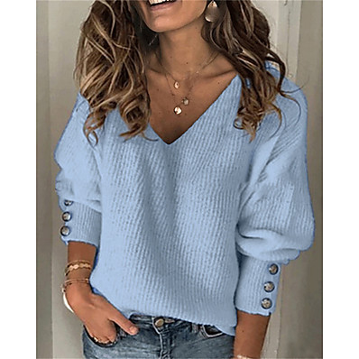cheap Knit Tops-Women's Pullover Sweater Solid Color Knitted Button Casual Long Sleeve Sweater Cardigans Fall Winter V Neck Blue Gray Red