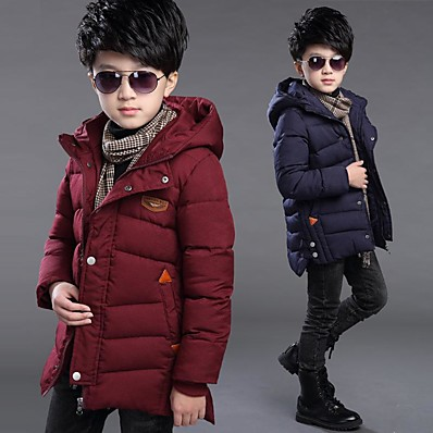 cheap Boys' Clothing-Kid's Boys' Down Coat Long Sleeve Five-pointed star cotton-black Five-pointed Star Cotton Jacket-Army Green Bentley Cotton Jacket-Navy Blue Zipper Solid Color Casual Daily Cotton Casual Cool 2-9 Years