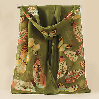 cheap Accessories-Women's Chiffon Scarf Green Holiday Scarf Graphic / All Seasons