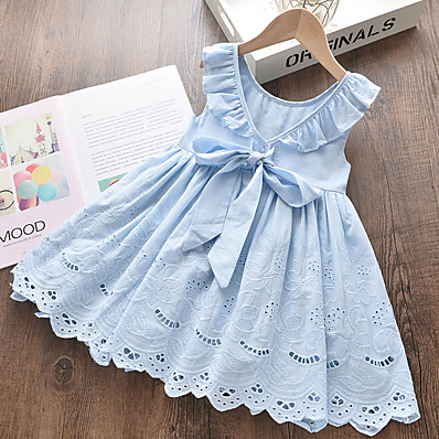 cheap Kids-Kids Toddler Little Girls' Dress Solid Colored School Embroidered Cut Out Bow Blue Above Knee 100% Cotton Sleeveless Cute Sweet Dresses Summer Loose 2-6 Years