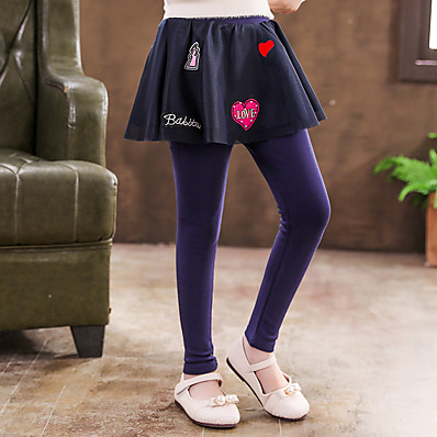 cheap Kids-Kids Girls' Skirt Leggings Blue Black Ruched Mesh Color Block Casual Daily Tights Cute 4-13 Years Maxi