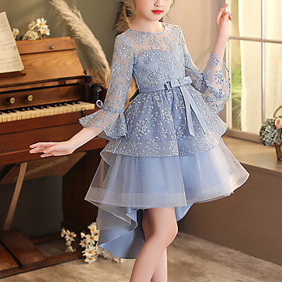 cheap Kids-Kids Little Girls' Dress Jacquard Party Birthday Embroidered Mesh Bow Blue Blushing Pink White Asymmetrical 3/4 Length Sleeve Princess Sweet Dresses Fall Spring Regular Fit 3-12 Years / Summer