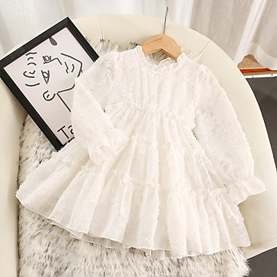 cheap Kids-Kids Toddler Little Girls' Dress Jacquard Solid Colored Wedding Mesh White Knee-length Long Sleeve Cute Dresses Fall 2-8 Years
